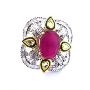 Diamond with Colored Stone Rings