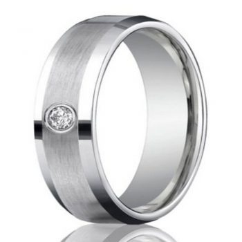 Mens Diamond Band with Frosted Polish